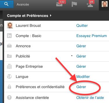 paramètres confidentialité Linkedin