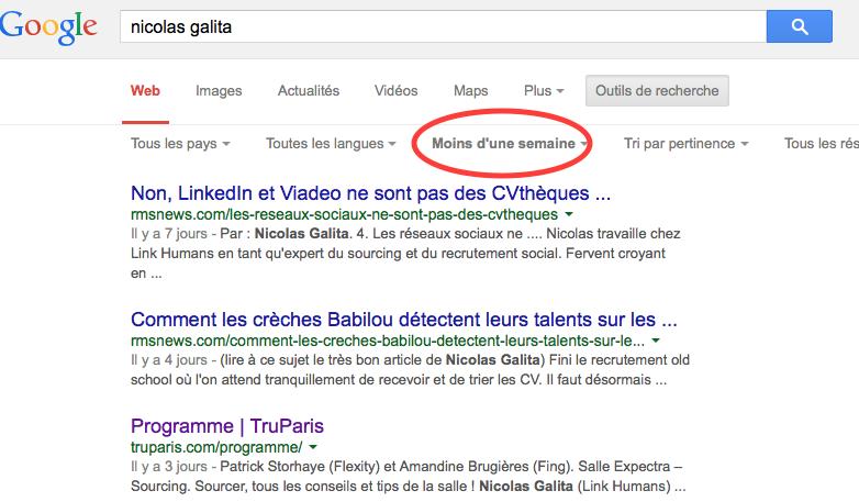 resultats récents recherche google recruteur