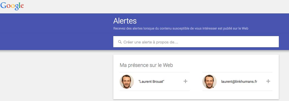 creer une alerte google recrutement