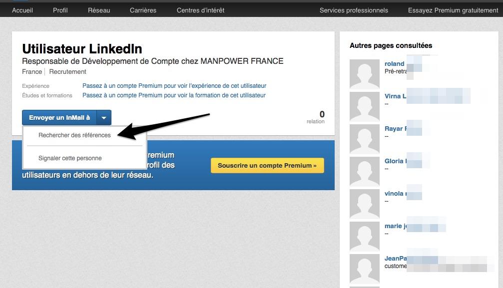 Clic sur Référence du Profil caché utilisateur LinkedIn