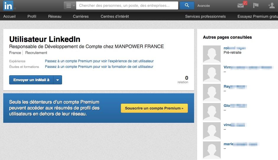 Profil caché utilisateur LinkedIn