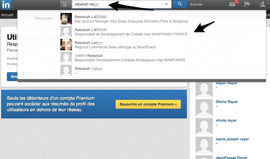 Taper le nom complet dans LinkedIn