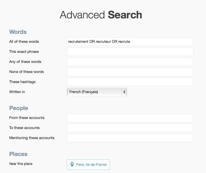 recruter sur Twitter avec recherche avancee