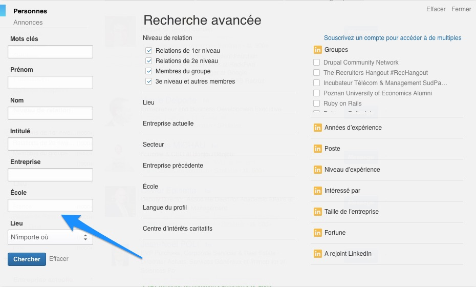 Recherche avancée LinkedIn Champ Ecole