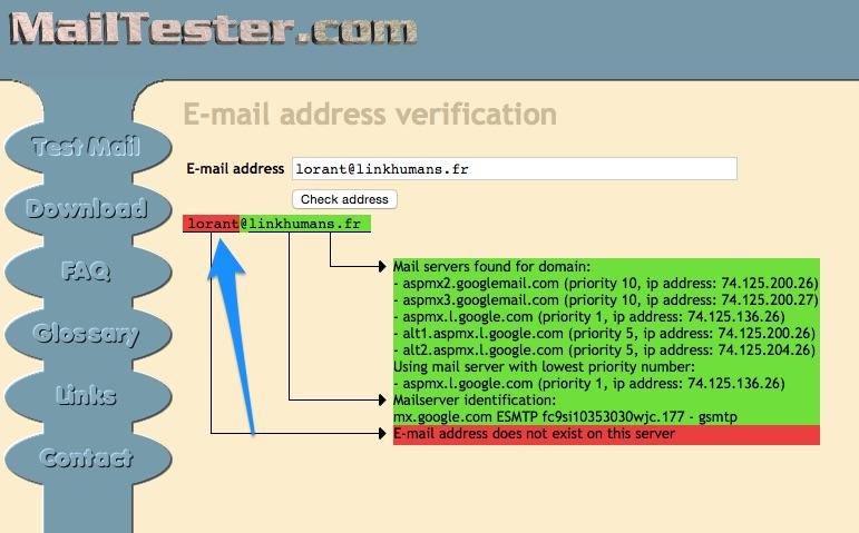 Mailtester message erreur principal