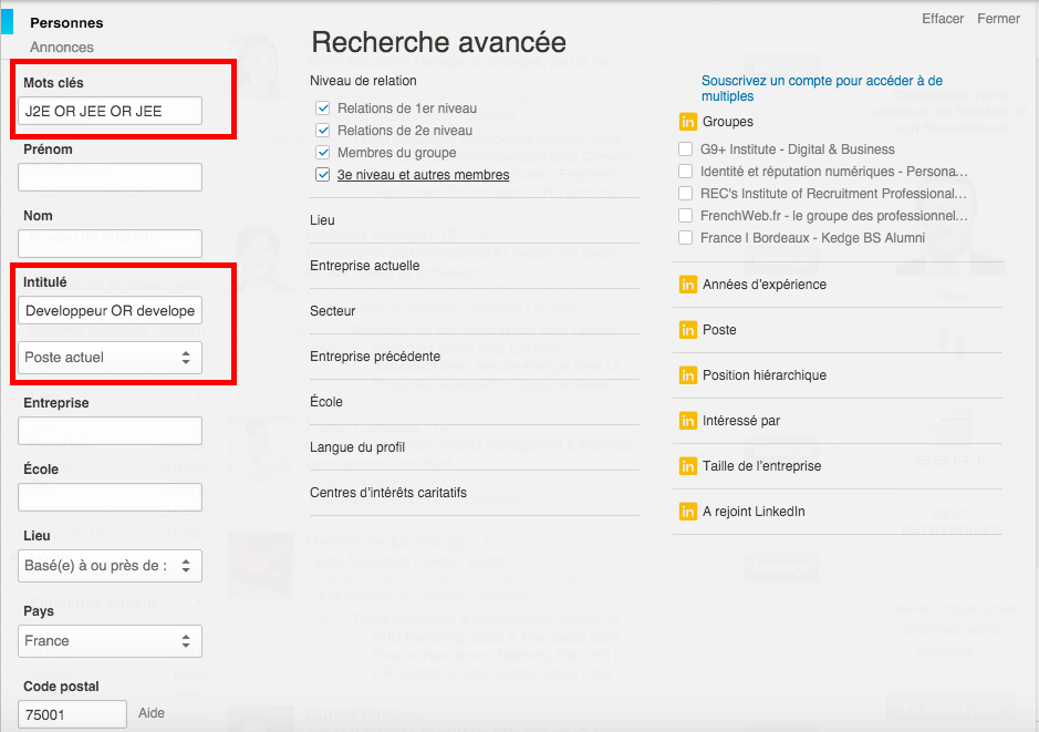 sourcing avance linkedin recrutement