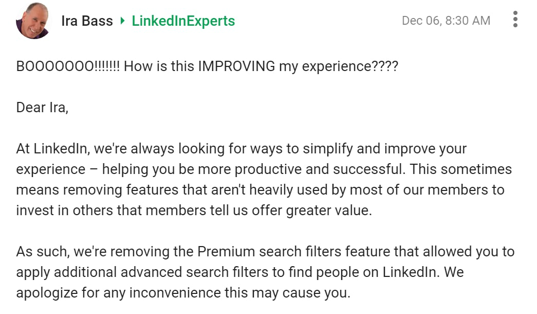 utilisateurs mecontents linkedin