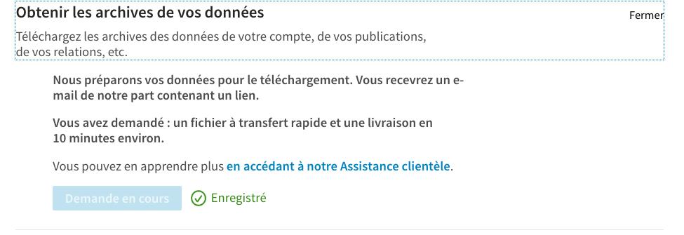 mail avertissement LinkedIn donnees