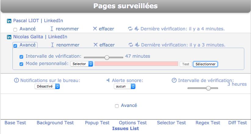 page monitor tableau de bord outil de sourcing