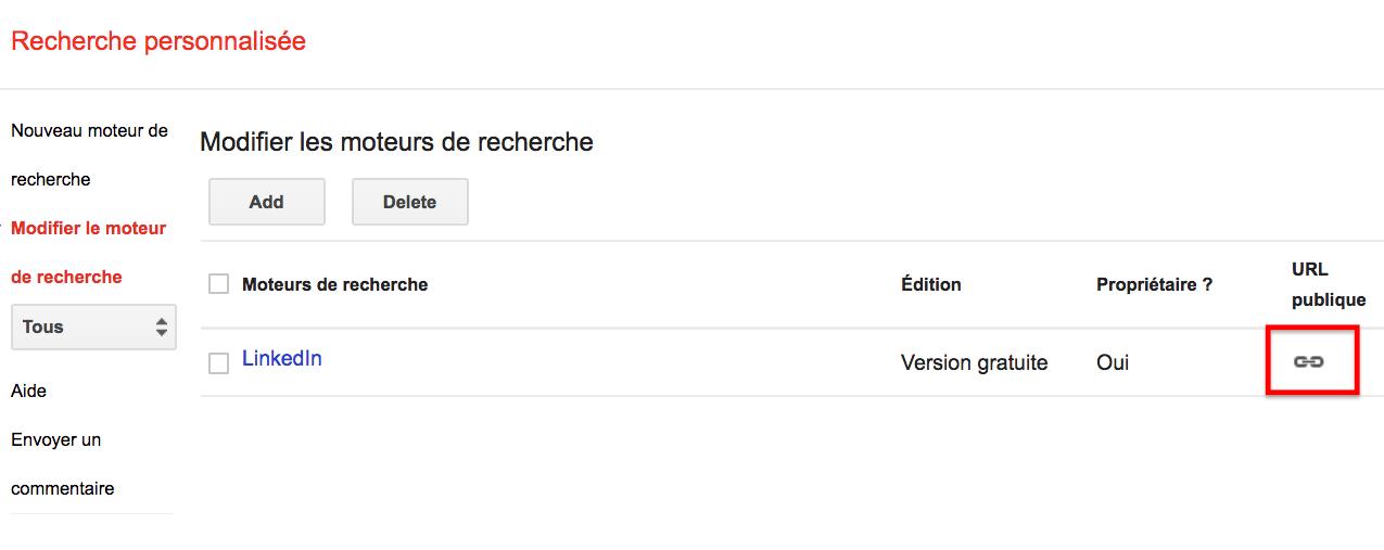 page accueil Google CSE sourcing