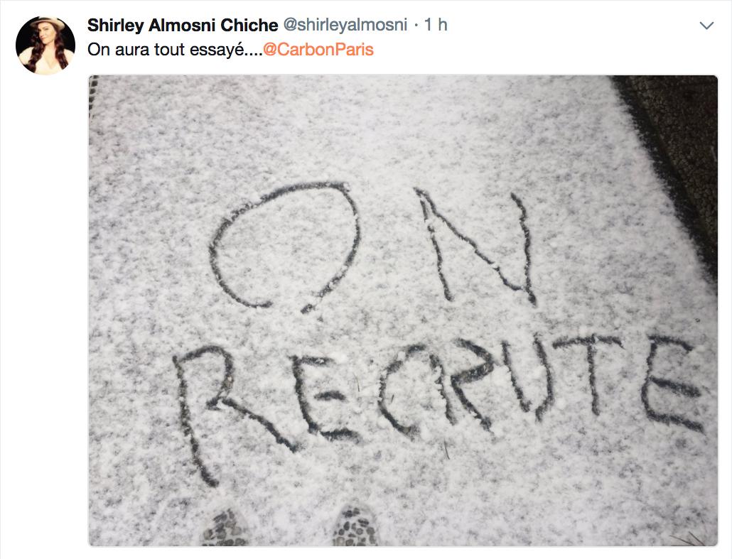 neige sur paris recrutement
